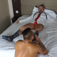 Muscle dad fucked by an escort