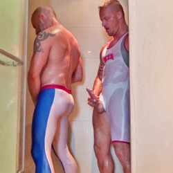 Shower soaked spandex