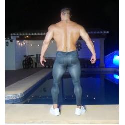 Black denim spandex tights