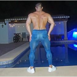 Blue denim spandex tights